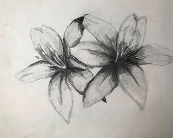 Flower sketch print