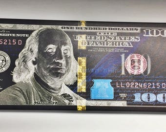 100 Dollar Bill, Money, Canvas, Art, Abstract, Cash, Rich, Art, Benjamin Franklin, Print