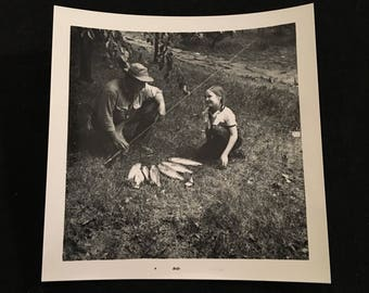 Fishing with Dad - 1950s Snapshot Photo, Vintage Amateur Photograph