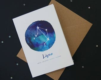 Libra card | Star Sign Constellation Horoscope Zodiac Astrology. Birthday, new baby, greetings card