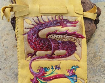 Red and Gold Medieval Illuminated Dragon Large Leather Pouch