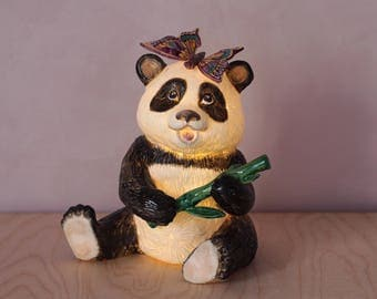 """Porcelain lamp """"Panda with butterfly''"""