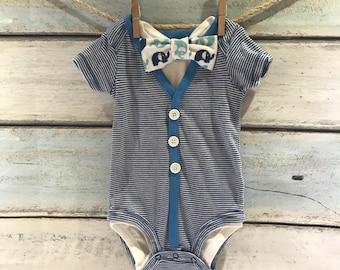 Baby cardigan - newborn cardigan - baby boy cardigan onesie - baby boy cardigan - short sleeve cardigan - striped cardigan - baby boy gift