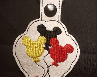 Mickey Ballons key fob key chain zipper pull bag tag Disney Mickey Mouse