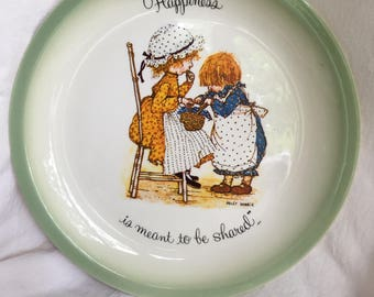 Vintage 1972 Holly Hobbie Sharing Plate, Collectors Edition, Cottage Decor, Cake Plate