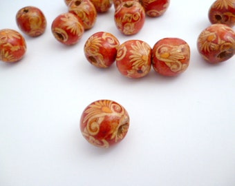 Large wooden red beads_PA002148/6524_Beads_ Round red wood large beads of 15 mm hole 4 mm _ pack 10 pcs