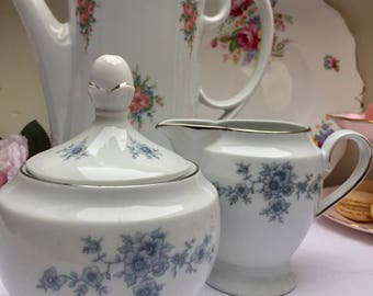 Lovely Blue & White Winterling Creamer and Sugar Bowl
