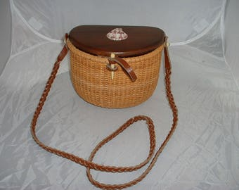 Wood and Woven Basket Purse