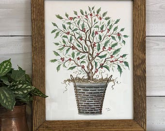 Simply Blessed Holly Tree-Original Hand-painted Artwork