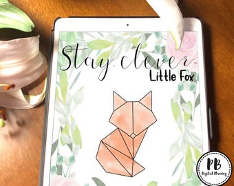 Geometric Stay Clever Little Fox Digital planner cover