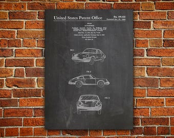 Porsche 911 Canvas painting, Porsche Poster, Porsche Print, Porsche Blueprint, Auto Blueprint, Sports Car Wall Art, Porsche Decor