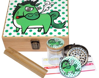 "Large Size Geometry Stash Box, 2.5"" Zinc Alloy Grinder,  Stash Jar, 6"" Rolling Tray - ALL IN ONE Box Package - Unicorn Smoking #LBCS020818-8"