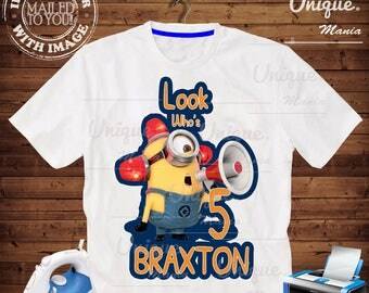 Personalize Birthday Boy Minions Iron on transfer by mail and Digital Printable, Minions Birthday personalize iron on transfer