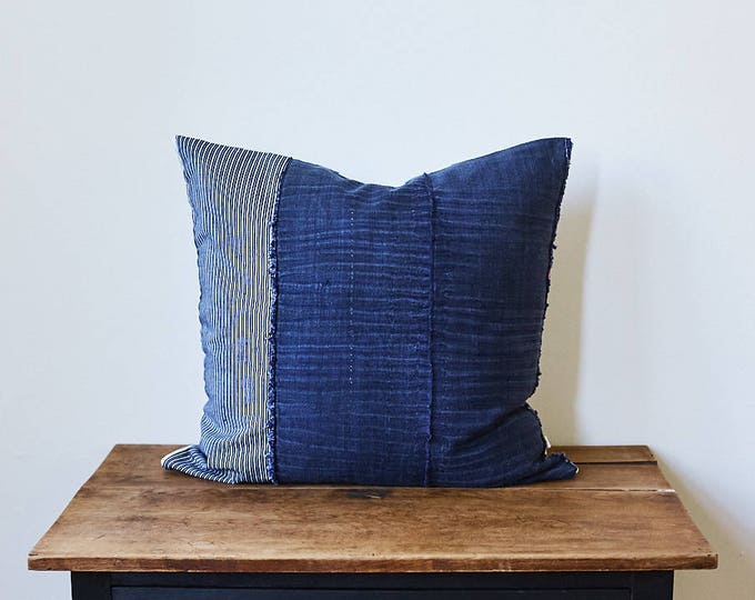 """Vintage Japanese indigo Stripes pillow 22"""" x 22"""""""