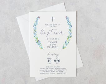 Baptism Invitation Boy, Baptism Invitation Boy, Baptism Invite, Christening Invitations, Baptism Invitations Printable, Blue and Green