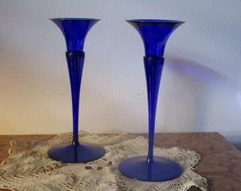 Pair of Cobalt Blue Glass Candle Sticks Holders! #BV