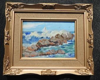 20th century Seascape, signed, oil on board, gilt ornated framed