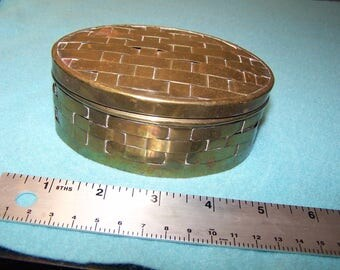 Woven Vintage Brass Container, Basket Weave Design