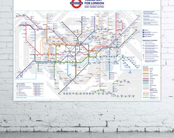 Large Format London Underground Tube Map Poster Print Wall Art