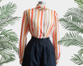 Striped vintage blouse / Design Seventa of Finland / High colar