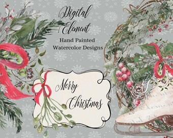Watercolor Clipart, Christmas Digital Clipart, Christmas Wreath Clipart, Ice Skate, Greenery, Miseltoe, Hand Painted. No. WC74