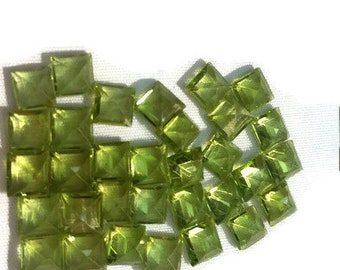 5mm Peridot Square Faceted Cabs, Square cut stone , Pack of 10 Pc