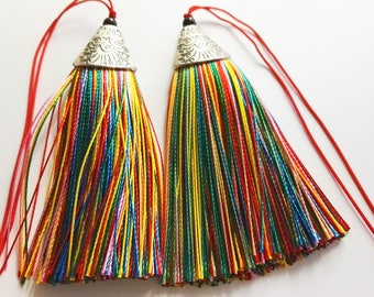 5 pcs Rainbow Tassels , Mala Tassels , tassel charms, jewelry tassels ,Decorative Tassels ,Antique Silver Cap Silk Tassels Charm