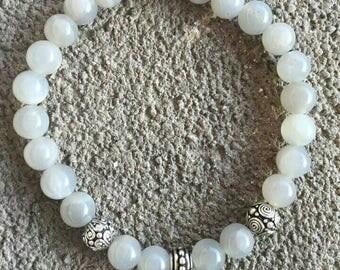 AA grade, silver plated gray energized bracelet fertility, gentleness, Moonstone