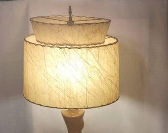 Tiered Lampshade, Mid Century Modern, Whip Stitched Fiberglass Shade, Cream w/Gold Threads in Random Swirls, Vintage 1950s Decor
