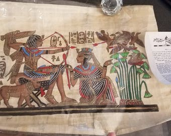 Egyptian hunting scene on papyrus -