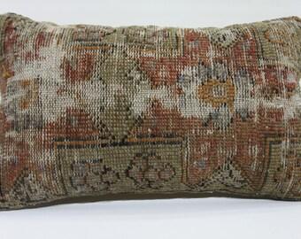brown pillow lumbar pillow 12x20 kilim lumbar pillow kilim pillow cream pillow cover decorative pillow throw pillow  623
