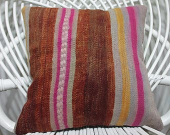 Floor Pillow Turkish Striped  Kilim Pillow 16x16 Naturel  Kilim Pillow Cushion Covers Kilim pillow Vintage Turkish Kilim Pillow    232