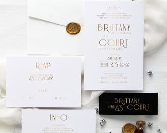 Art Deco 4 Wedding Invitation Sets,  Golden Invitations, Wedding Invitations Luxury, Chic Art Deco Wedding Invitation Kits, Wax Stamps