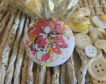 x 1 cabochon 22mm bouquet flowers 3 BOUT10 fabric