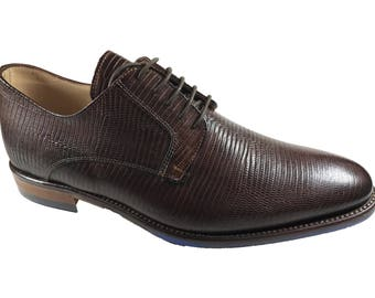 La Fatima Men Zapatos/Office Brown Leather Shoes/Dress Oxfords Shoes/Made in Italy/Handmade Leather Shoes/Men Shoes/Chaussures Hommes/Size 9