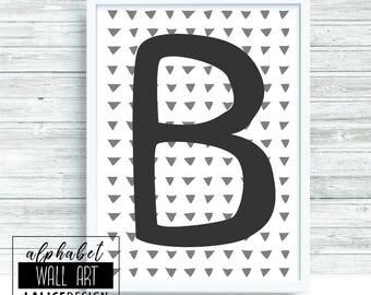 Alphabet B black and white printable wall art, home decor, wall decor
