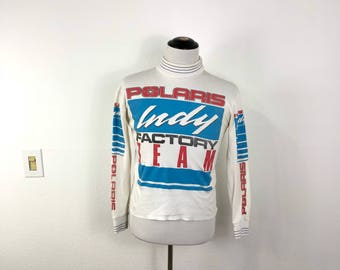80's vintage polaris racing team 50/50 blend long sleeve t-shirt