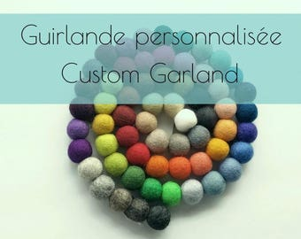Custom Felt balls garland/custom colour/choice/Modern/Kids room/Nursery/playroom/felt/baby shower/made in canada/kid garland/pompom/Quebec