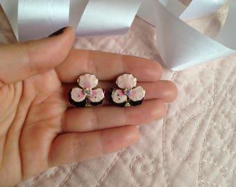 Enamel Earrings - Enamel Jewelry - Clip On - Clip on Earrings - Clip Earrings - Pink Earrings- Light Pink - Bridal Shower Earrings - Flowers