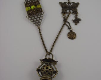 Bucolic necklace with butterfly, bees, steampunk Lantern