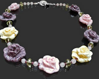 "Vintage Necklace, Designer Necklace, Gemstone Necklace, Floral Necklace, Murano Bead Necklace, Rose Quartz Necklace, Amethyst Necklace, 18"""