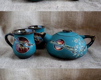 Kitchen-decor-Gift-for-couple-Ceramic-teapot-and-tea-cups-Gifts-for-parents-Tea-gift-set-Green-tea-set-Ceramic-tea-set-Pottery-and-ceramics