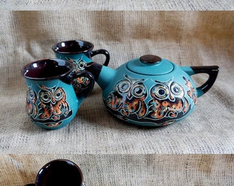 Kitchen set Owls Ceramic tea set Owls Gift daughter Family Tea gift Tea set green Hand painted pottery Ceramic tea service Ceramic tea pot