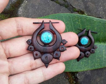 "Post stick earrings, ""Dark Seraph"", 18g earrings, sono wood earrings, hand carved earrings, tribal style earrings, fake gauge earrings."