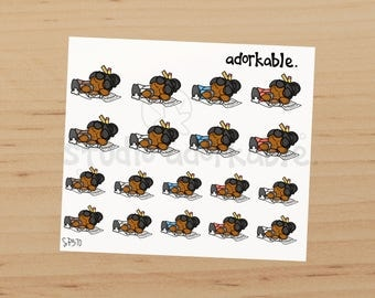 Education Exhausted Bit - Black Hair Glossy Stickers / SP370