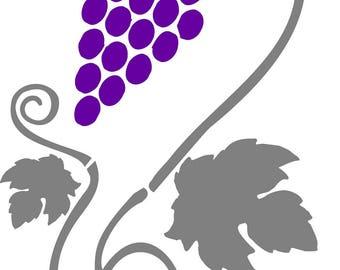 Stencil, vine and grape A4