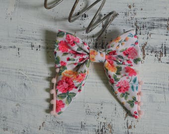 Pink Mulicolor Floral Sailor Hair Bow with Pom Noms