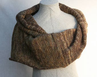 Boho blanket scarf for fall / Warm winter snood scarf  / Nursing shawl wrap/ Versatile wrap brown knit shawl/ Winter wedding capelet- Walnut