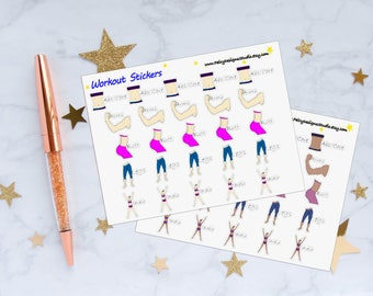 Workout Planner Stickers, Workout Stickers, Fitness Stickers, Health Stickers, Vinyl Stickers