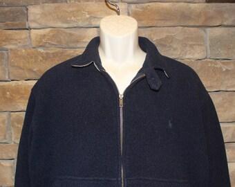 Vintage Polo by Ralph Lauren Fleece Jacket  Men's Large (Modern Day Medium)  Navy Blue  Made in USA  Full Zip
